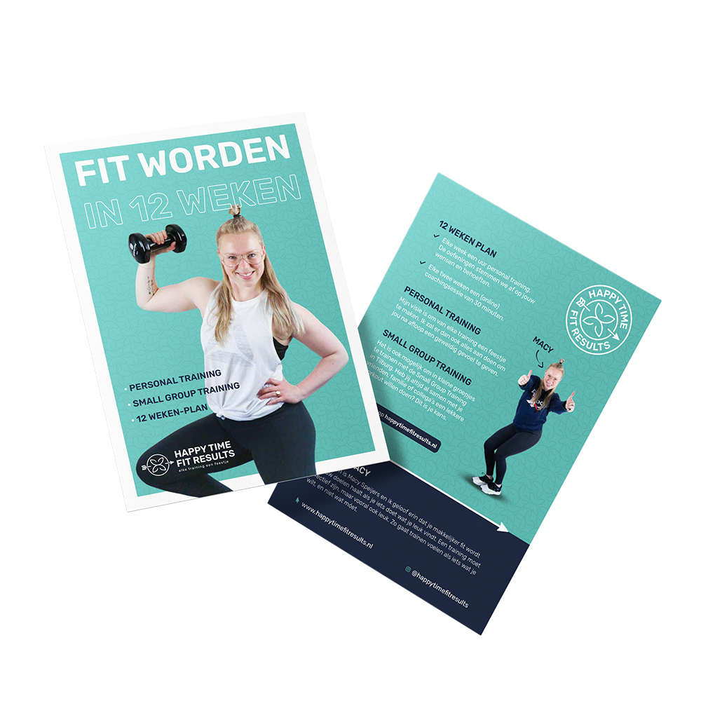 Flyer ontwerp Happy Time Fit Results